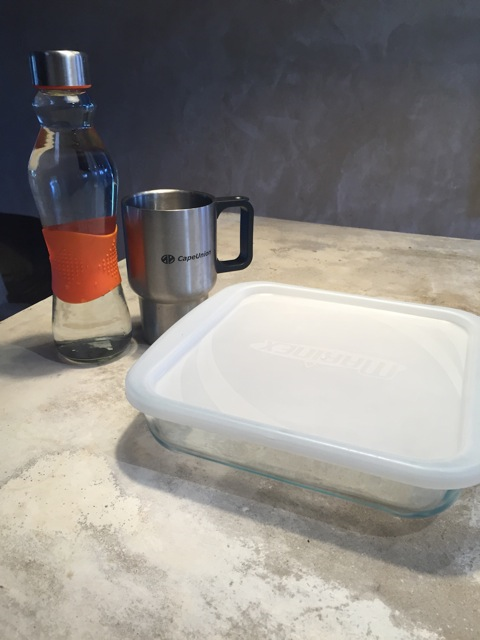 Waste Free Tip 1: Take a re-usable water bottle, coffee cup, take-away container and shopping bag with you whenever you leave the house.