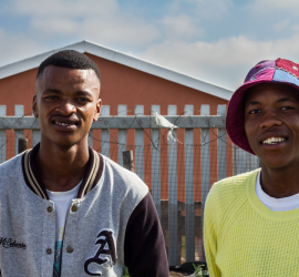 Abonga Tom and Sizwe Nyuka Mlenzana, at Ekasi Garden Headquarters, Vusamanzi Primary School, Khayelitsha. ©David Peter Harris
