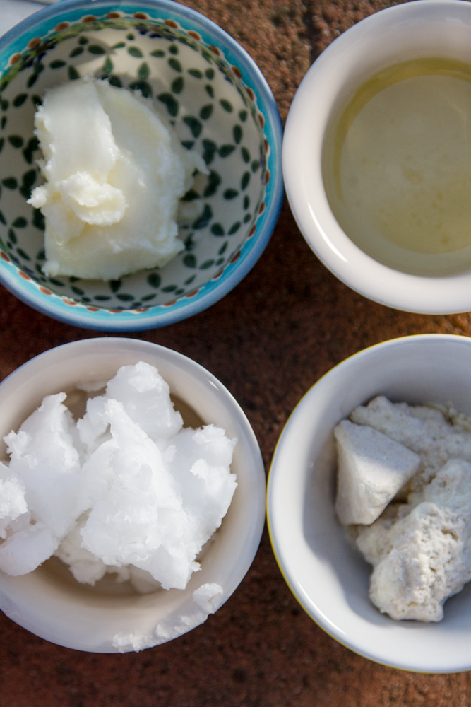 Four ingredients for a home-made moisturizing body lotion©David Peter Harris